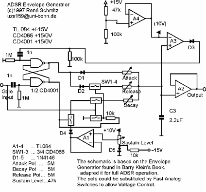Synth Schematics --::-- Envelope Generator ADSR