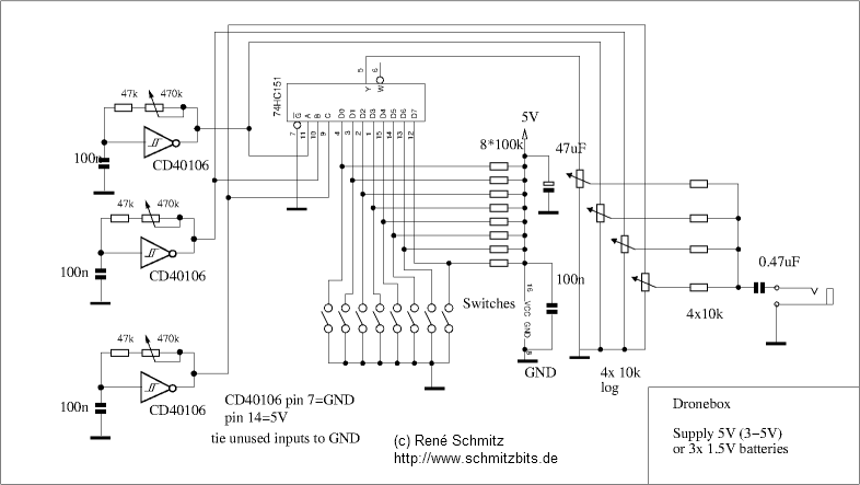 synth schematics dronebox electric guitar diagram drone box schematic